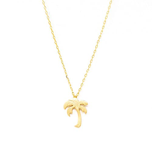30c3d5f9b26 Me Plus Palm Tree Small Charm Necklace Tiny Cute Pendant with Adjustable  Clasp (Gold)