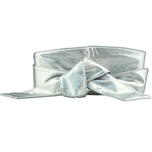 Belt Cinch Leather Soft - Neevas Women PU Leather Soft Self Tie Bowknot Band Wrap Around Sash Obi Belt Waistband (Silver)