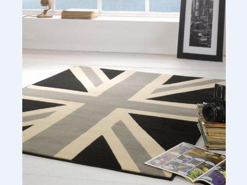Black Grey Union Jack Rug, Large Size, Low Price. 120x160cm UK Postage But