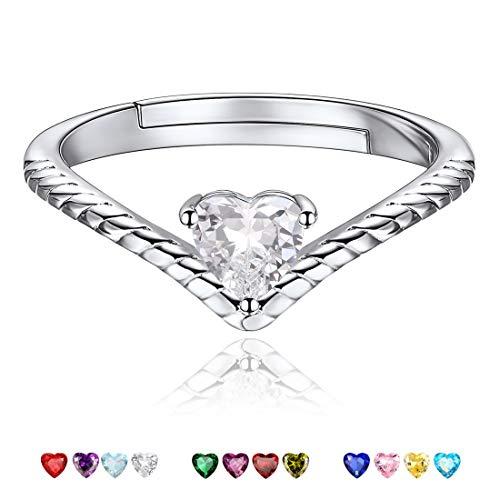 Apr Birthstone Promise Rings White Crystal Charm Jewelry Love Heart 925 Sterling Silver Eternity Bands Engagement Rings for Her ()