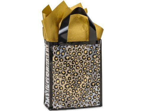 Cub Frosted Safari Medium Plastic Shopper Gift Bag - Quantity of 5 by Nashville Wraps (Shoppers Cub)