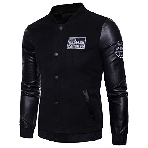 RkBaoye Men Plus Size Stand Collar Faux Leather Long Sleeve Coat Black
