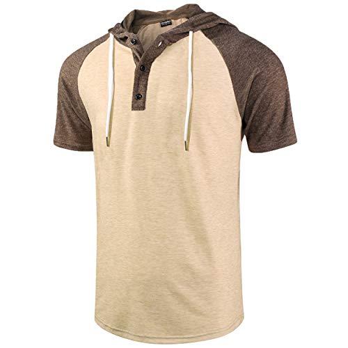 Moomphya Men's Jacquard Knitted Casual Short Sleeve Raglan Henley Jersey Hoodie T Shirt (Brown/Khaki SL, Large) ()