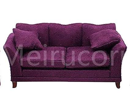 Meirucorp Dollhouses 1/12 Scale Miniature Furniture Drawing Room Purple  Fabric Sofa