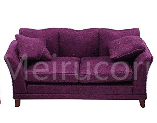 Meirucorp Dollhouses 1/12 Scale Miniature Furniture Drawing Room Purple Fabric Sofa
