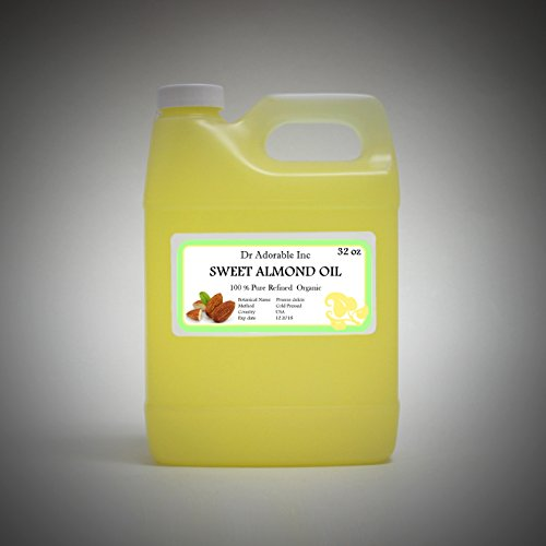 - Sweet Almond Oil Organic Pure Cold Pressed by Dr.Adorable 32 Oz/1 Quart
