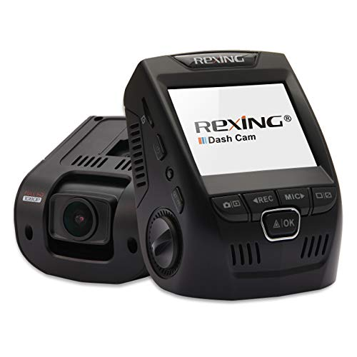Rexing V1 Car Dash Cam 2.4' LCD FHD 1080p 170° Wide Angle Dashboard Camera Recorder with G-Sensor, WDR, Loop Recording