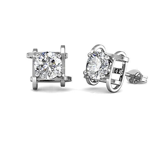 Cate & Chloe Lorelei Unique Gold Stud Halo Earrings, 18k White Gold Plated Studs with Swarovski Crystals, Geometric Stud Earring Set Solitaire Round Cut Crystals, Wedding Jewelry
