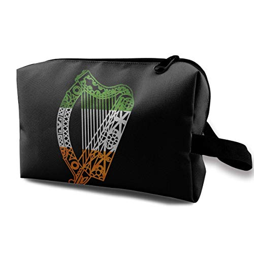 (Irish Music Harp Player Large Travel Cosmetic Pouch Bag Storage Bags Portable With Zipper)