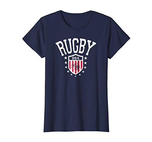 Womens Vintage Rugby USA Eagle T-shirt XL Navy (Womens Navy Rugby)