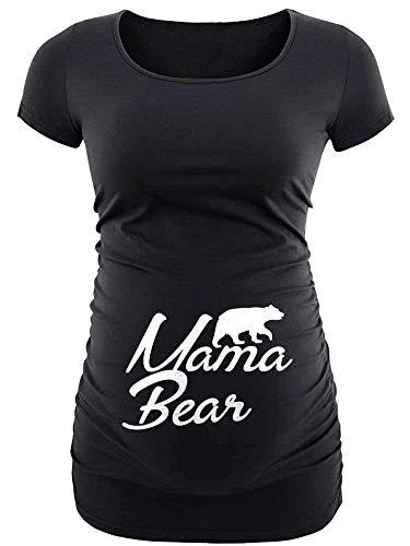 - Black Womens Mama Bear T Shirt - Funny Maternity Shirts for Women   Mamabear MTS, L