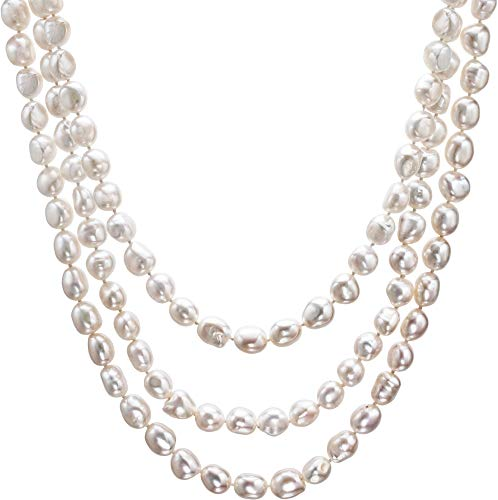 - HinsonGayle AAA Handpicked 10-11mm Iridescent White Baroque Freshwater Cultured Pearl Rope 65 inch-65 in length