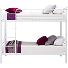 mecor Twin over Twin Metal Bunk Beds Frame Kids /Adult Bedroom Furniture with Ladder ,White