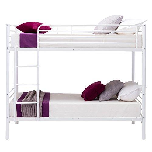 Dfm twin over twin metal bunk beds frame ladder kids adult for Kids white bed frame