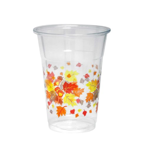 Party Essentials 20 Count Soft Plastic Printed Party Cups, 16-Ounce, Autumn (Printed Plastic Cups)