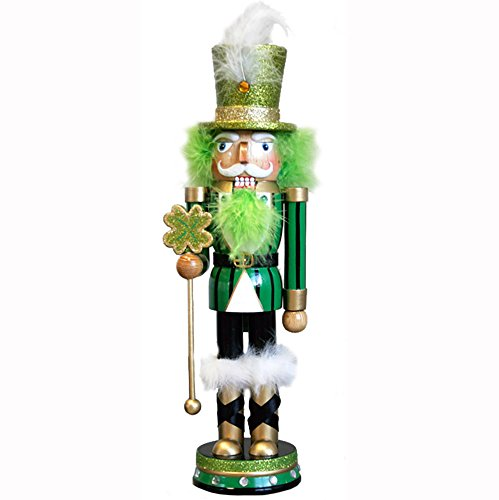 St. Patrick's Day Holiday Irish Wooden Nutcracker Figure Soldier Doll with Traditional Green & Black Uniform Jacket, Shamrock Staff, Green Top Hat with Glitter & Faux Fur Details, Large, 12 - Hat Glitter Green Top