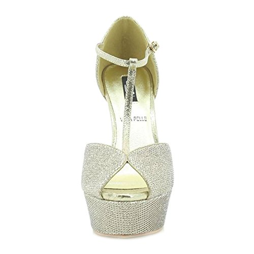 Femme nbsp;Chaussures Champagne Helena s2413ch Toocool Sandales T Champagne Hauts Bar nbsp;– Plateau Talons Queen Eqw51C