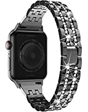 LELONG for Apple Watch Band 38mm 40mm 42mm 44mm SE Series 6 Series 5 4 3 2 1, Bling Replacement Bracelet iWatch Band, Diamond Rhinestone Stainless Steel Metal Wristband Strap