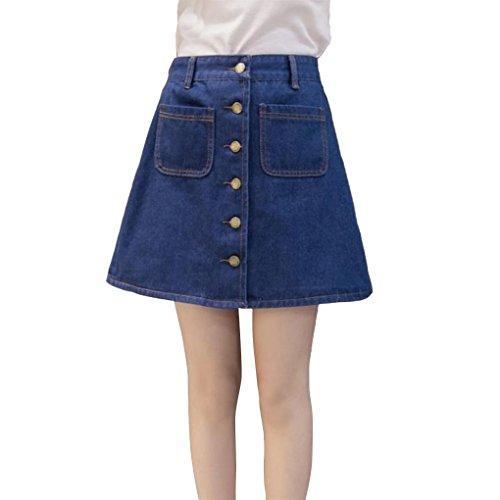 Summer Sexy Single Denim Jupe Pocket High Slim A Line Waist Bleu Women Jupe Breasted Masterein Autumn profond OdAqO
