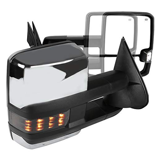 Suburban Chrome Manual Mirror - Chevy C10 C/K Chrome Power Heated Smoke LED Turn Signal Towing Side View Mirrors