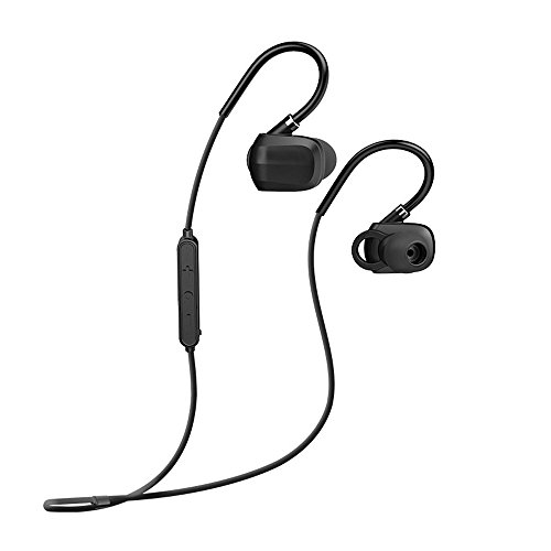 Bluetooth Headphones Earhook,Kaleep Wireless Noise Canceling Mini Earbuds Headset with Remote Mic&Retractable Neckband Secure Fit Hifi Stereo Earclip Earphones for Running,Workout,Driving,Gym-Black