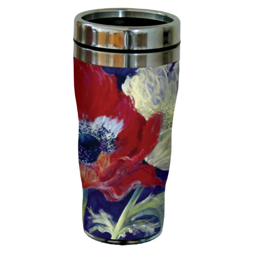 Tree-Free Greetings sg23742 Poppies on Violet by Nel Whatmore Travel Tumbler, 16-Ounce