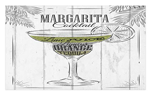 Ambesonne Cocktail Doormat, Ingredients of Margarita Sketch Lime Juice Liqueur Orange and Tequila, Decorative Polyester Floor Mat with Non-Skid Backing, 30 W X 18 L Inches, Grey White Apple Green