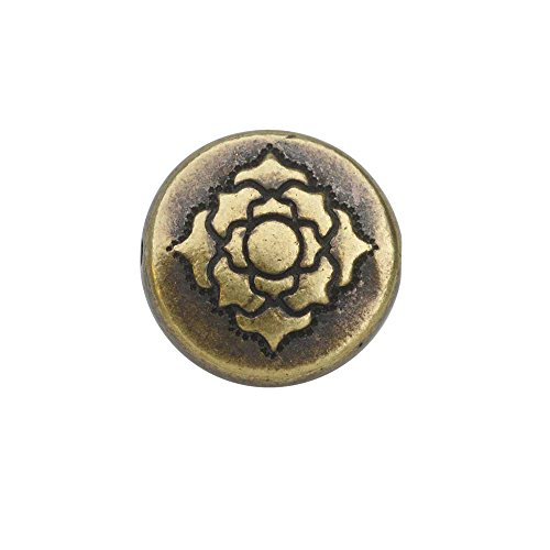 TierraCast Bead, Puffed Coin with Lotus Design 4x13.5mm, 2 Pieces, Brass Oxide Finish (Puffed Beads Coin)