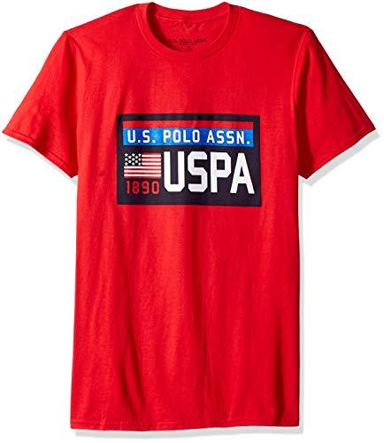 U.S. Polo Assn. Men's Short Sleeve Chest Plate Logo Crew Neck T-Shirt, Engine red, L