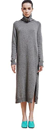 WANEE Women's Turtleneck Long Sleeve Split Knit Sweater Maxi Dress (X-Large, (Split Neck Sweater Dress)