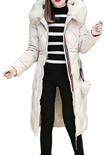 Coat Down Winter 1 Women's UK Jacket Fur Faux Quilted Long Hoodie today Warm OgwPBnA