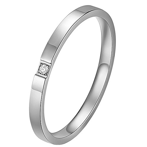 2 Mm Five Finger - HIJONES Women's Stainless Steel Cubic Zirconia Inlaying 2MM Thin Stackable Midi Ring Skinny Wedding Band Silver Size 5