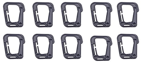 XTACER Tactical Multipurpose D Ring Locking Hanging Hook Link Snap Keychain for Molle Webbing, Black, 10 Piece