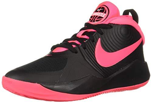 Nike Unisex Team Hustle D 9 (GS) Sneaker, Black/Racer Pink - White, 4.5Y Regular US Big Kid (High Top Sneaker Girls)
