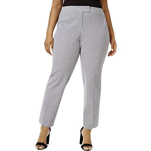 Anne Klein Womens Plus Seersucker Striped Trouser Pants B/W ()