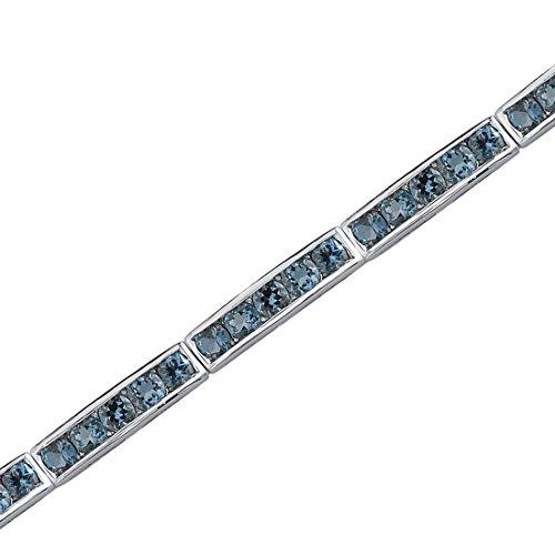 Revoni Splendeur Désirée - Bracelet avec Topaze bleu de Londres rond 6 cts. - Inspiration pour enfant - Argent fin 925/1000