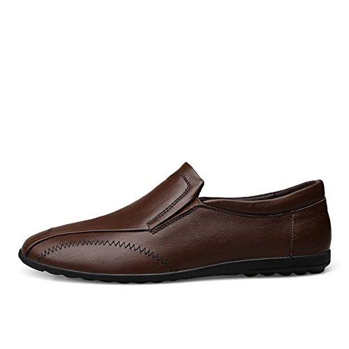 Classic Uomo Traspirante Marrone Rotonda Scarpe a Mocassini Testa Stile on Fatte Mano Loafers Slip Scuro qHSzwgwp1x
