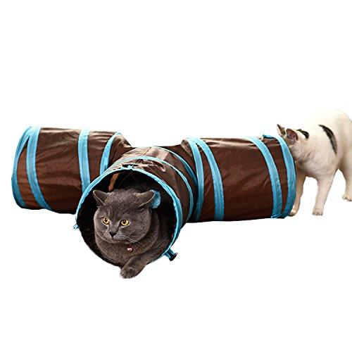 Open INnoVation 3 Way Cat Tunnel Collapsible Pet Toy Tunnel with Ball for Cat