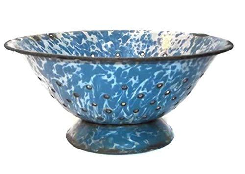 Antique Shabby Highly Distressed Blue & White Swirled Porcelain Enamel Graniteware Colander Strainer