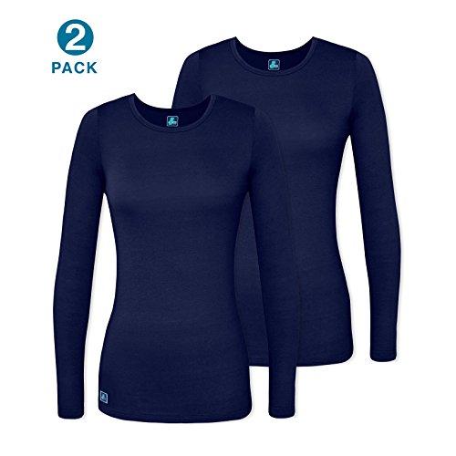 Adar 2 Pack Women's Comfort Long Sleeve T-Shirt/Underscrub Tee - 2902 - NVY - XL