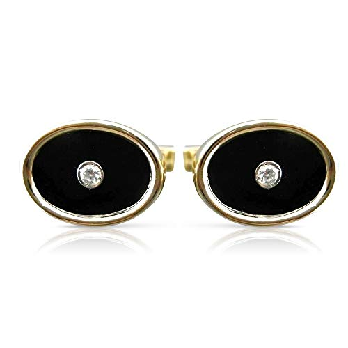 Milano Jewelers .16CT Old Mine Diamond & AAA Oval Onyx 14K Yellow Gold Cuff Links #23084