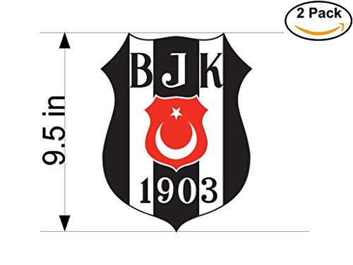 Besiktas JK Turkey Soccer Football Club FC 2 Stickers Car Bumper Window Sticker Decal Huge 9.5 inches by CanvasByLam