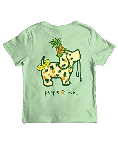 Puppie Love Rescue Dog Kids Unisex Short Sleeve Cotton T-Shirt, Pineapple Pup (10-12, Mint)
