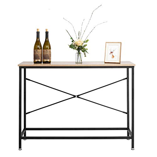 Bonnlo Entry Way Console Table Sturdy Metal Frame Sofa Table with Scratch-Resistant Water-Resistant Wooden Top