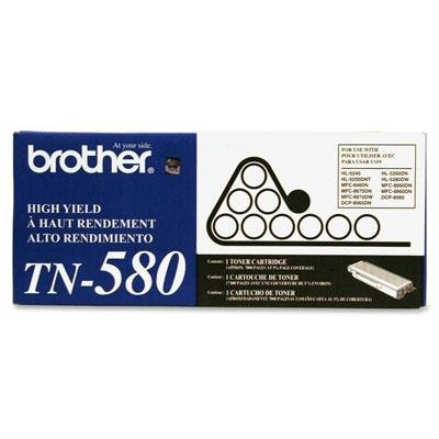 Brother Tn580 Laser Printer Toner Cartridge Easy-To-Install Clear 7000 Page-Yield
