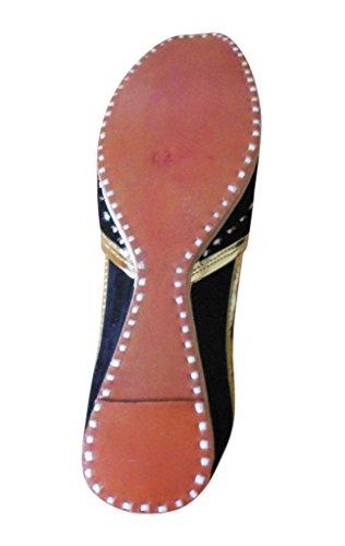 indienne pour avec Chaussures Creations Designer en Noir broderie Kalra velours traditionnelle femme FRqI1