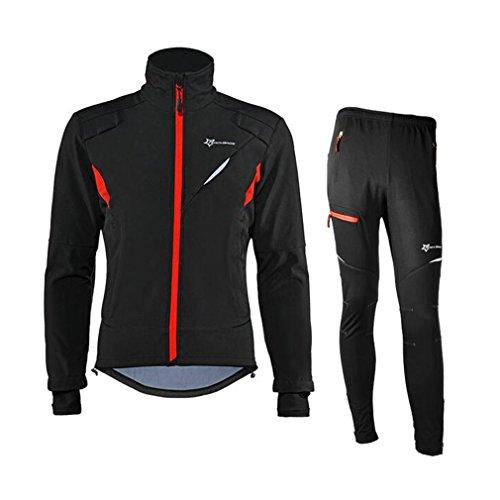 関連付ける膜大西洋ROCKBROSサイクリングジャケット&パンツ サーマルフリース 冬防風コート&ズボン 長袖 ロングジャージ 裏起毛 上下セット