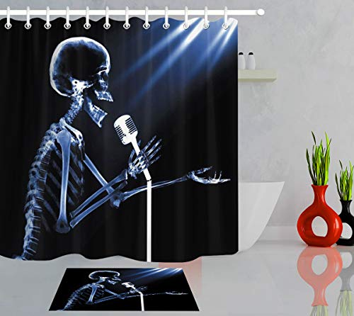 LB Day of The Dead Shower Curtain Mustic Theme Skull Skeleton Singing Song Funny Decor Skull Shower Curtain Set,Waterproof Fabric 72x72 Inch with 16x24 Inch Bath Mat -