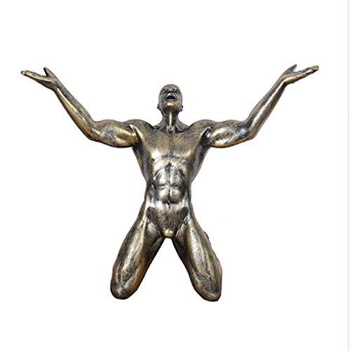 QWERWEFR Resina Rugido de Victoria Estatuas Hombre Adornos Creativos Vintage Hombre Escultura Artesanía Oficina en casa Salón Decoración Regalo,B por QWERWEFR
