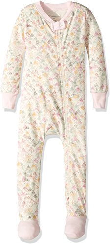 100 Cotton Mountain Short (Burt's Bees Baby Baby Girls' Organic Print Zip Front Non-Slip Footed Sleeper Pajamas, Dotted Mountains, 18 Months)